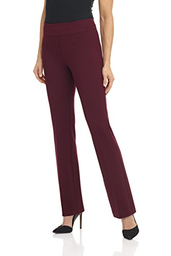 Rekucci Women's Secret Figure Pull-On Knit Bootcut Pant w/Tummy Control (6,Burgundy)