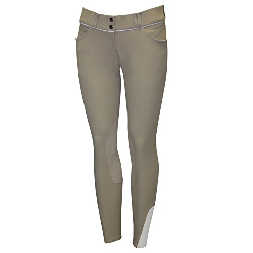 ELATION EuroSeat Breeches, Platinum Brooklyn Riding Breeches for Women, Thick Elastic High Waist w/Contrast Piping & Leather Knee Patch - Ladies Equestrian Riding Pants & Horse Show Breech (Tan, 30R)