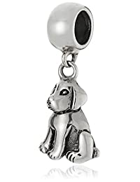 CHARMED BEADS Sterling Silver Dog Drop Bead Charm
