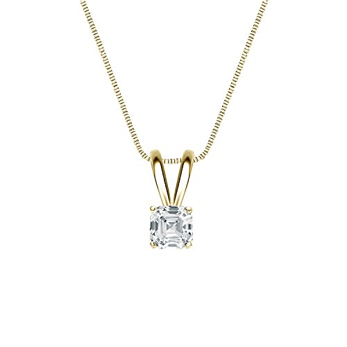 14k Yellow Gold 4-Prong Basket Asscher Diamond Solitaire Pendant (1/3 cttw, White, SI1-SI2)