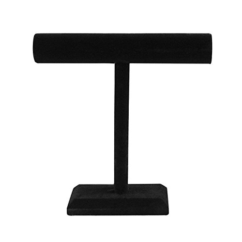 Black Velvet Necklace Bracelet T-Bar Jewelry Display Stand Tower for Home Organization (Display Black Velvet 12 Inch Necklace)