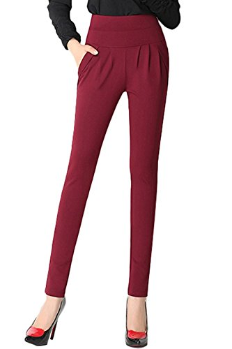 dextrad Hot Womens Plus Size Stretch Haren Pants Pleated Pockets Slim Office Trousers BlackXX-Large]()