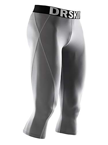 DRSKIN] Tight 3/4 Compression Pants Base Layer Running Pants Men (L, GG804)