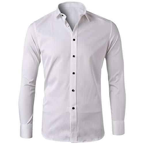 - Rakkiss_Men Shirts Fashion Solid Business Tops Button Turn-Down Collar Tee Long Sleeve Summer Tops White