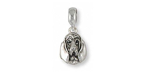 (Bloodhound Jewelry Sterling Silver Bloodhound Charm Slide Handmade Dog Jewelry BHD4-PNS)