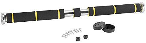 TNT Pro Series Chrome Plated Multi-Grip Steel Pull Up Bar with Extra Thick, Extra Long Foam Grips for Doorway Pull Ups - Adjustable Chin up Bar for Home Gym
