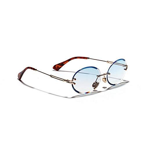 Rimless Oval Women Sunglasses Men Gradient Transparent Sun Glasses Retro Eyeglasses,C2 ()