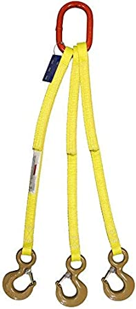 EE2-801 Vertical Capacity 9,000 Lb HSI Two Ply Three Leg 1 x 5 Oblong-to-Hook Bridle Nylon Sling Hook with Safety Latch 3//4 Trade Size Alloy Master Link