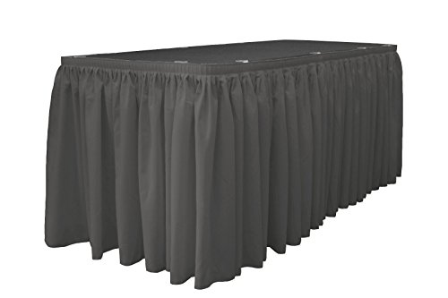 LA Linen Oversized Polyester Poplin Table Skirt 30-Foot by 29-Inch Long with 15 L-Clips, Charcoal