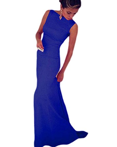 Lalagen Women's Royal Sleeveless Elegant Long Evening Dress Gowns blue (Elegant Evening Wear)