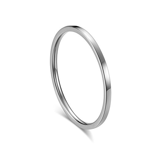 HIJONES Women's Stainless Steel 1MM Thin Stackable Midi Plain Ring Band Polished Finish, Silver Size 5 (Silver Band Plain Polished Finish)