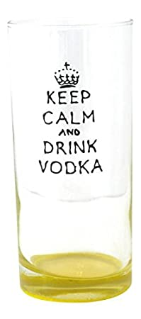 Blue Keep Calm and Drink Vodka Hand Painted Long Glass by Memories-Like-These UK