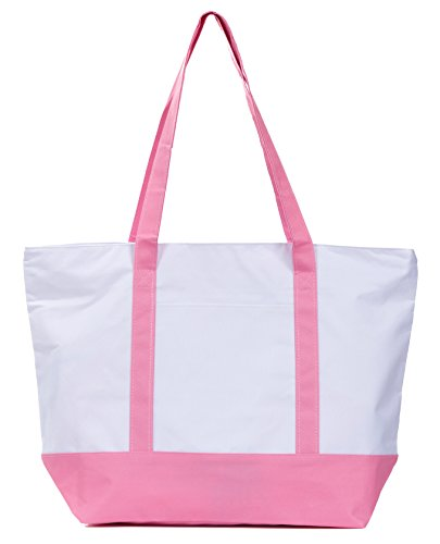 Leisureland Large Beach Tote Bag, Top Zipper Boat Bag (Contrast Stripe Pink) by Leisureland