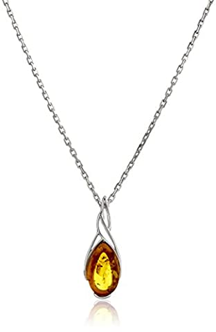 Rhodium Plated Sterling Silver Honey Amber Pear Shape Pendant Necklace, 18'' (Amber And Silver Necklace)
