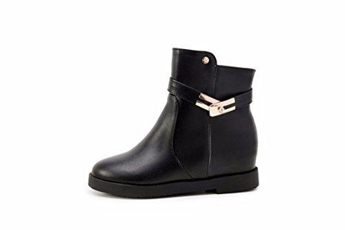 RFF-Womens Shoes les Femmes à lautomne et LHiver avec de Grandes Bottes Martin Augmentation de Triage et des Bottes Courtes,Black (Terry),40