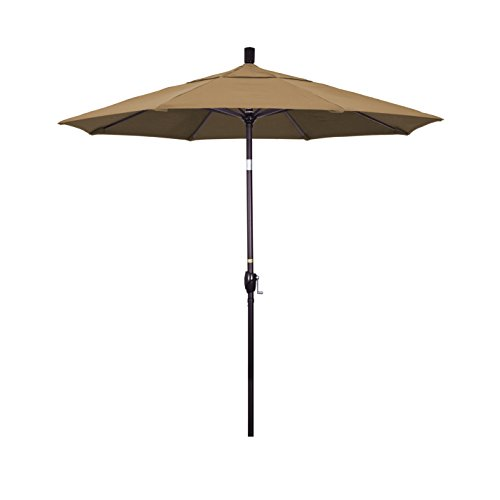 California Umbrella 7.5' Round Aluminum Market Umbrella, Crank Lift, Push Button Tilt, Bronze Pole, Sunbrella Cocoa