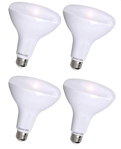 4 Pack BR30 Bright LED Light Bulbs by Bioluz LED INSTANT-ON Warm White LED 2700K, 11 Watt Energy Saving Light Bulbs (95 watt Equivalent) Indoor Outdoor Dimmable Lamp UL Listed