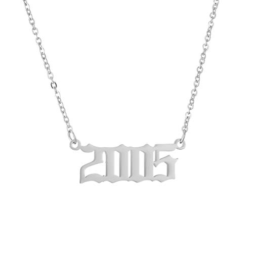 Birth Year Necklace Pendant for Women Girl Silver Plated Friendship Old English Number Birthdate Necklace 1990-2009 Trendy Jewelry Birthday Gift(Silver,2005)