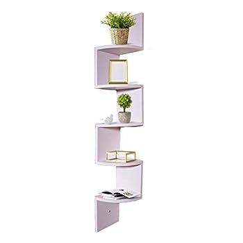 Adorn Home Essentials decrotive Corner Zig Zag Wall Mount Shelves for Living Room, Bedroom, Bathroom, Office, displays, Kitchen | 5-Tier, White