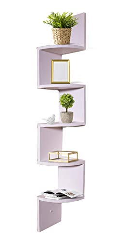 Adorn Home Essentials decrotive Corner Zig Zag Wall Mount Shelves for Living Room, Bedroom, Bathroom, Office, displays, Kitchen | 5-Tier, White ()