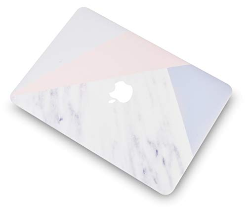 "KECC Laptop Case for MacBook Air 13"" Retina (2020/2019/2018, Touch ID) w/Keyboard Cover + Screen Protector Plastic Hard Shell Case A1932 3 in 1 Bundle (White Marble with Pink Grey)"