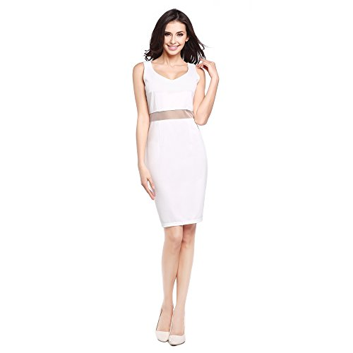 FINEMORE Sexy Formal Party Cocktail Midi Bodycon Evening Dress for Women Lady Girl White Splicing L(US 6-8)