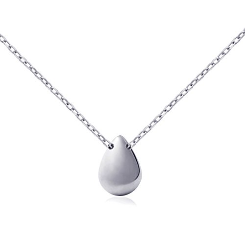 Fonsalette Plain Teardrop Pendant Necklace Sterling Silver Delicate Minimalist Dainty Necklace White Gold Necklace for Women