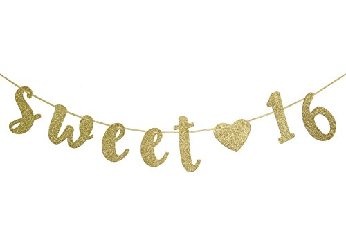 Sweet 16 Birthday Banner Gold Glitter with Heart Sixteen Decoration 16th Birthday Party Decor Supplies Cursive Bunting Photo Booth Props Sign -