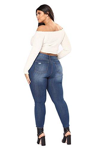 alta Para tamaño Jeans Pantalones Azul Vaqueros Luckywe Señora Vaqueros cintura Vaqueros Pantalones estiramiento de Sueltos Plus pantalón Alta Cintura Mujer pitillo Y4qvvC6
