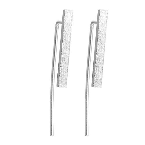 Sterling Silver Matt (Bohemian Jewelry 925 Sterling Silver Matt Bar Cuff Climber Crawlers Hook Stud Earring for Girls)
