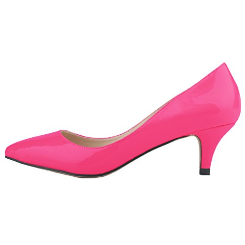 HooH Women's Pointed-toe Slip Candy Color Kitten Work Pump Peach gvrUhWJv
