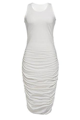 Sleeveless Ruched Maternity Dress (Elesol Womens Sleeveless Side Shirring Slim Fit Bodycon Tank Dress,White,S)