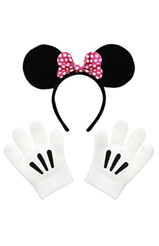 Disney Minnie Mouse Ears Pink Bow Headband & Gloves Kit, sized for children, teens and adults