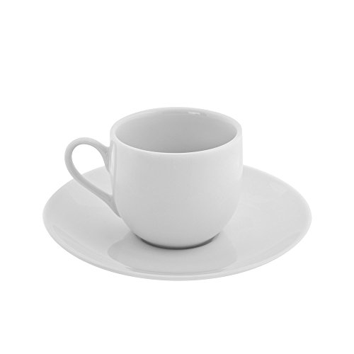 10 Strawberry Street RB00116 Classic Ballet Demi Cup/Saucer, Set of 6, White