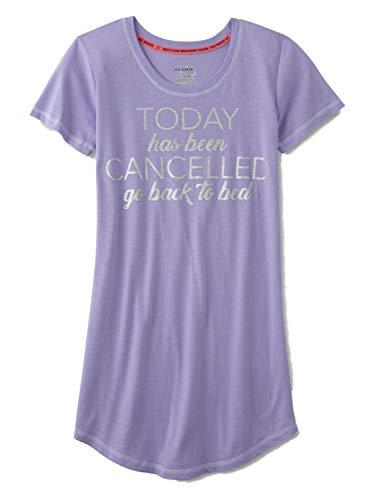 Womens Purple Glitter Today Has Been Cancelled Sleepshirt Nightgown Sleep Shirt