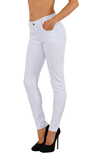 Bermuda Cotton Jeans - Fit Division Women's Jean Look Cotton Blend Jeggings Tights Slimming Full Lenght Capri and Classic Bermuda Shorts Leggings Pants S-3XL (M US Size 6-8, FDJN827-WHT)