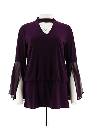 - Laurie Felt Knit Top Woven Bell SLVS Luxe Plum S New A301676