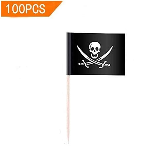 100PCS Pirate Toothpick Flag, Food Fruit Cocktail Picks Cupcake Topper for Birthday, Party Decorations Supplies (style 1)]()