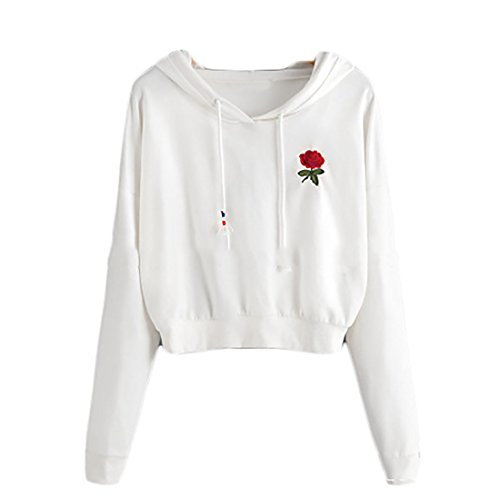 JXG Womens Autumn Embroidery Crop Tops Hoodie Pullover Sweatshirt Outwear White US L by JXG-Women