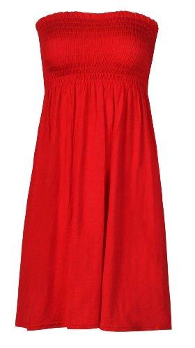 Ärmelloses Oberteil halterlos mit elastischem Bustierteil Damen-Top, Jersey, Stretch, Gr. S/M (34/36) Rot)