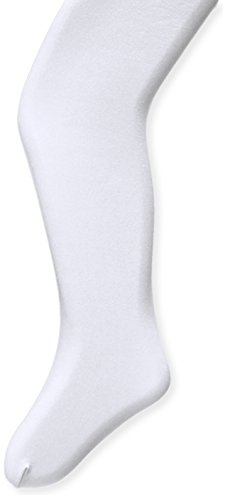 Capezio Little Girls' Ultra Soft Self Knit Waistband Footed Tight, White, One Size (Toddler 2-6)