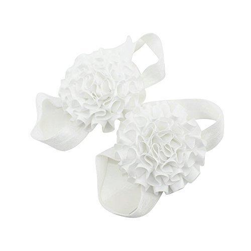 nabati Baby Girl Band Blumen Barfuß Sandalen Schuhe (weiß)