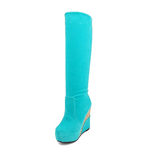 AllhqFashion Womens High Heels High Top Solid Pull On Boots Blue 7CNNC2nmH
