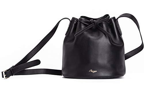 Unique Design Genuine Full Grain Leather Handbag Bucket Bag Drawstring Shoulder Bag Designer Handbag Cow Leather Romyse ()