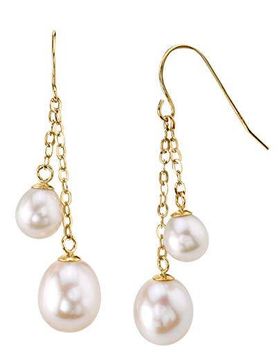 THE PEARL SOURCE 14K Gold 6-7mm Double Drop-Shape White Freshwater Cultured Pearl Tincup Juliana Earrings for Women