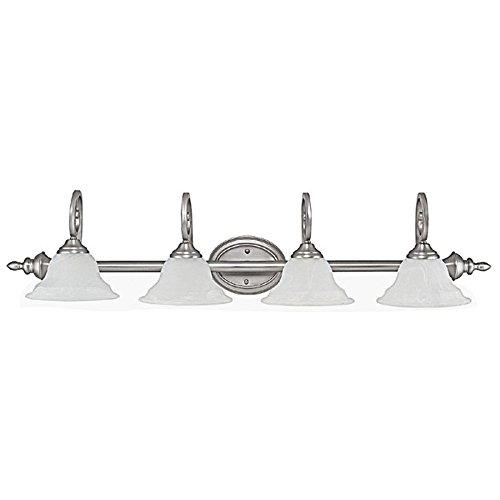 Capital Lighting 1804MN-222 Vanity with Faux White Alabaster Glass Shades, Matte Nickel Finish