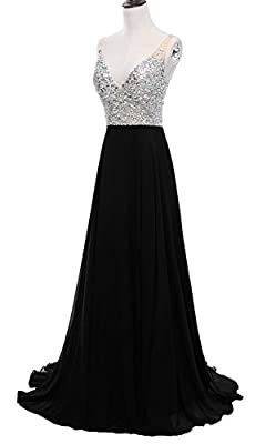 Pettus Women's Crystals V-Neck Beaded Prom Dress With Sexy Slit Sequins Long Evening Dresses Formal P499