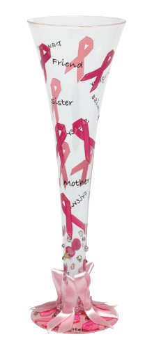 Lolita Hand Painted Champagne Glass, Pink Ribbon ()