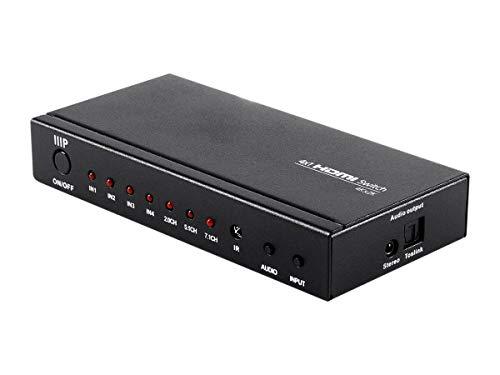 Monoprice Blackbird 4k - 4x1 HDMI 1.4 Switch with Toslink and Analog Audio Extractor | 4K@30hz, HDCP 1.4