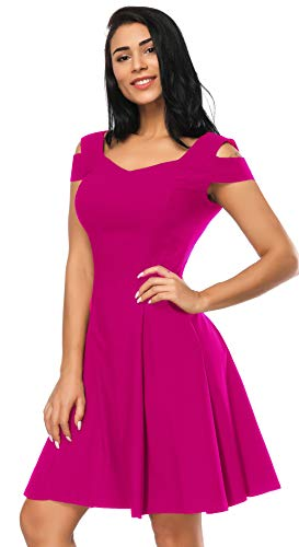 Back Dresses for Juniors A-line Skater Dress for Women, Cold Shoulder Little Cocktail Party Dress (Hot Pink, L)